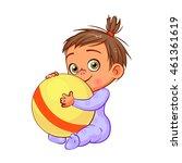 cartoon swarthy little baby... | Shutterstock .eps vector #461361619