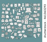 set of universal doodle icons.... | Shutterstock .eps vector #461363293