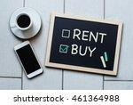 buy not rent blackboard concept.... | Shutterstock . vector #461364988