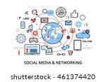 modern flat thin line design... | Shutterstock .eps vector #461374420