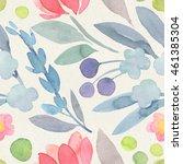 seamless watercolor botanical... | Shutterstock . vector #461385304