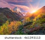 Stock photo autumn landscape path in the mountains mount ushba main caucasian ridge zemo svaneti georgia 461393113
