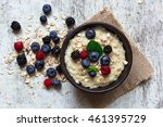 oatmeal porridge with ripe... | Shutterstock . vector #461395729