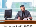 man businessman working at this ... | Shutterstock . vector #461408530
