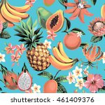 hawaiian seamless pattern with... | Shutterstock .eps vector #461409376