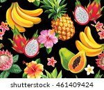 hawaiian seamless pattern with... | Shutterstock .eps vector #461409424