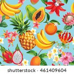 hawaiian seamless pattern with... | Shutterstock .eps vector #461409604
