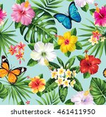 seamless pattern with tropical... | Shutterstock .eps vector #461411950