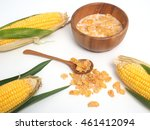 corn and cornflakes on white... | Shutterstock . vector #461412094