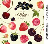 vector mix berries seamless... | Shutterstock .eps vector #461415358