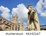 Stock photo this picture shows the roman baths and sculpture in the foreground with bath abbey in the 46142167