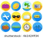 traveling flat icon set....