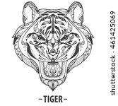 wild tiger head zentangle... | Shutterstock .eps vector #461425069