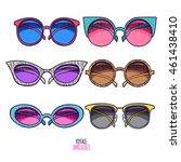 set of cute vintage sunglasses. ... | Shutterstock .eps vector #461438410