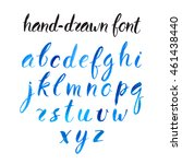 beautiful blue watercolor font. ... | Shutterstock .eps vector #461438440