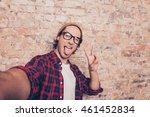 Funny Hipster Making Selfie...