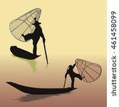 vector  silhouette of fisherman ...   Shutterstock .eps vector #461458099