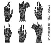 ornate hands with old school... | Shutterstock . vector #461460628