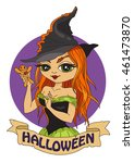cute fashion witch.... | Shutterstock .eps vector #461473870