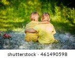 Two Little Boys Friends Hug...