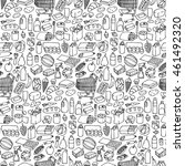 seamless pattern with doodle... | Shutterstock .eps vector #461492320