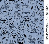 halloween seamless pattern with ... | Shutterstock .eps vector #461518828