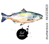 watercolor hand drawn salmon... | Shutterstock . vector #461523823