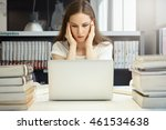 stressed student girl squeezing ... | Shutterstock . vector #461534638