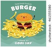 vintage burger poster design... | Shutterstock .eps vector #461555380