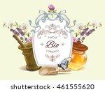 vector herbal banner with... | Shutterstock .eps vector #461555620