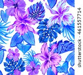 vector tropical pattern with... | Shutterstock .eps vector #461557714