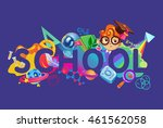 school background in purple.... | Shutterstock .eps vector #461562058