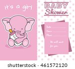 Stock vector elephant with baby bottle baby shower 461572120