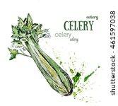 celery watercolor painting... | Shutterstock . vector #461597038