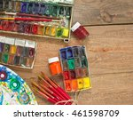 watercolor paints  brushes and... | Shutterstock . vector #461598709