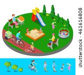 isometric children playground... | Shutterstock .eps vector #461616808