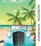 vintage old car on a sandy... | Shutterstock . vector #461628244