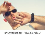 jogger making a pause in the... | Shutterstock . vector #461637010
