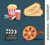 cinema symbols 4 retro style... | Shutterstock .eps vector #461638369