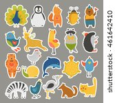 set of stickers with baby... | Shutterstock .eps vector #461642410