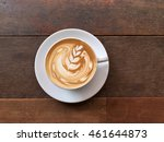 cup of coffee on a wood table. | Shutterstock . vector #461644873