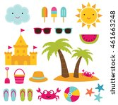 summer beach vector elements set | Shutterstock .eps vector #461663248