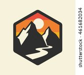 Mountains Vector Icon.