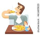 man eat pizza symbol icon... | Shutterstock .eps vector #461685820