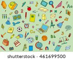 school supplies on a green... | Shutterstock . vector #461699500