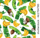 seamless pattern with banana... | Shutterstock .eps vector #461704780