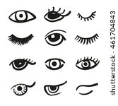 set of doodle eyes and lashes.... | Shutterstock .eps vector #461704843