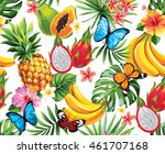 seamless pattern with tropical... | Shutterstock .eps vector #461707168