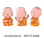 set of little meditating monks. ... | Shutterstock .eps vector #461711686