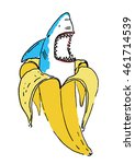 banana shark illustration | Shutterstock .eps vector #461714539